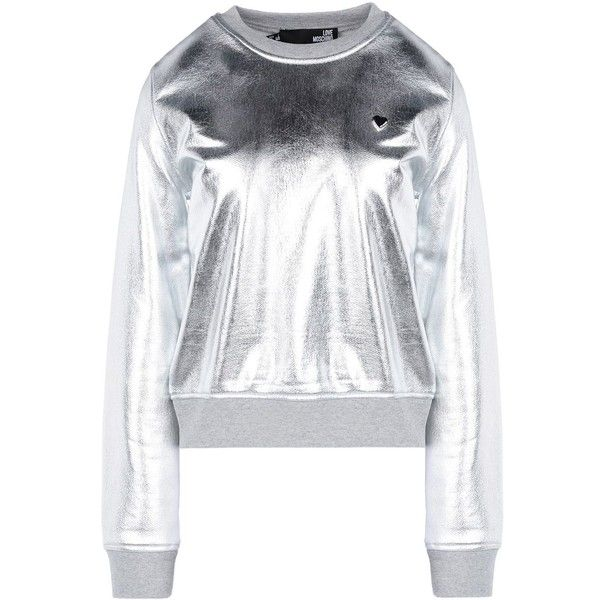 Love Moschino Sweatshirt ($180) ❤ liked on Polyvore featuring tops, hoodies, sweatshirts, silver, love moschino, logo sweatshirts, long sleeve tops and long sleeve sweatshirt