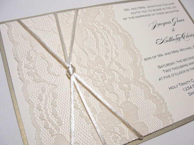 Lace Ribbon EMILY Real Wedding Invitation