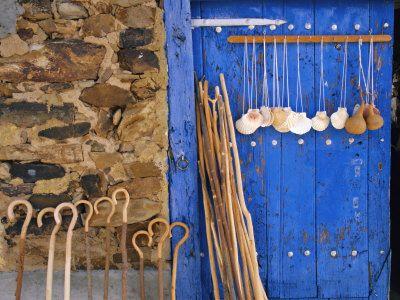 El Camino Pilgrimage to Santiago De Compostela, Scallop Shells and Walking Sticks, Galicia, Spain