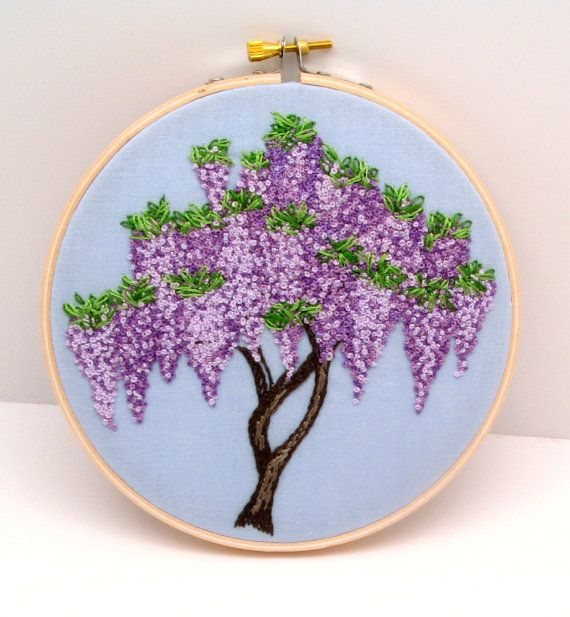 Wisteria Hand Embroidery, Hand Stitched Embroidery Hoop Art, Purple Lavender Flowers, Made to Order
