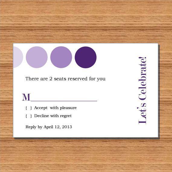 Wedding REPLY card  Berry Purple  RSVP  by LexiekinPrints.etsy.com