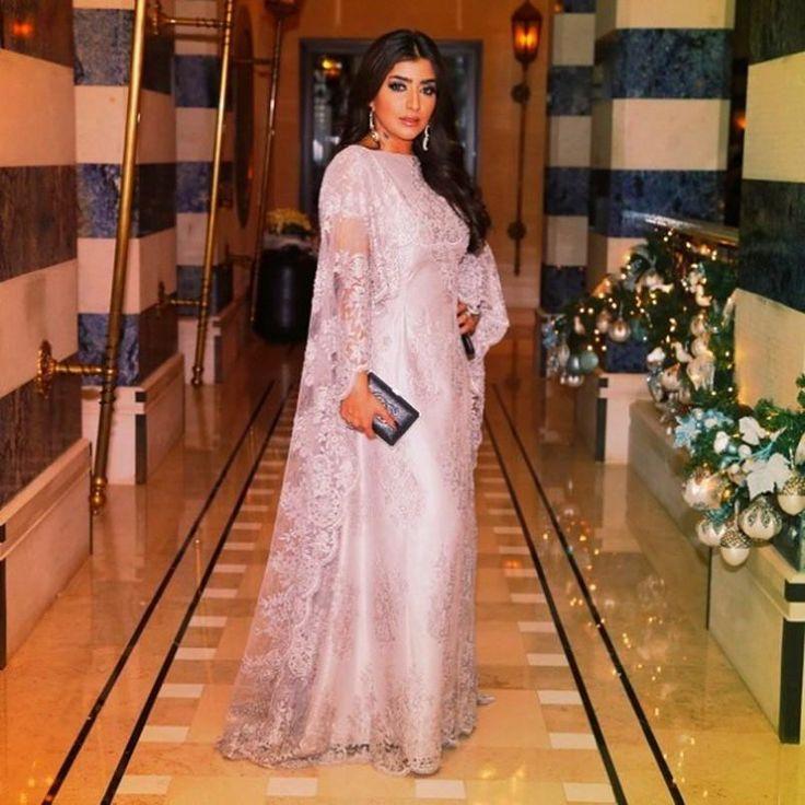 2017 Kaftans Elegant Dubai Long Sleeve Muslim Evening Dresses Pink Lace Arabic Style Evening Gown Dresses China