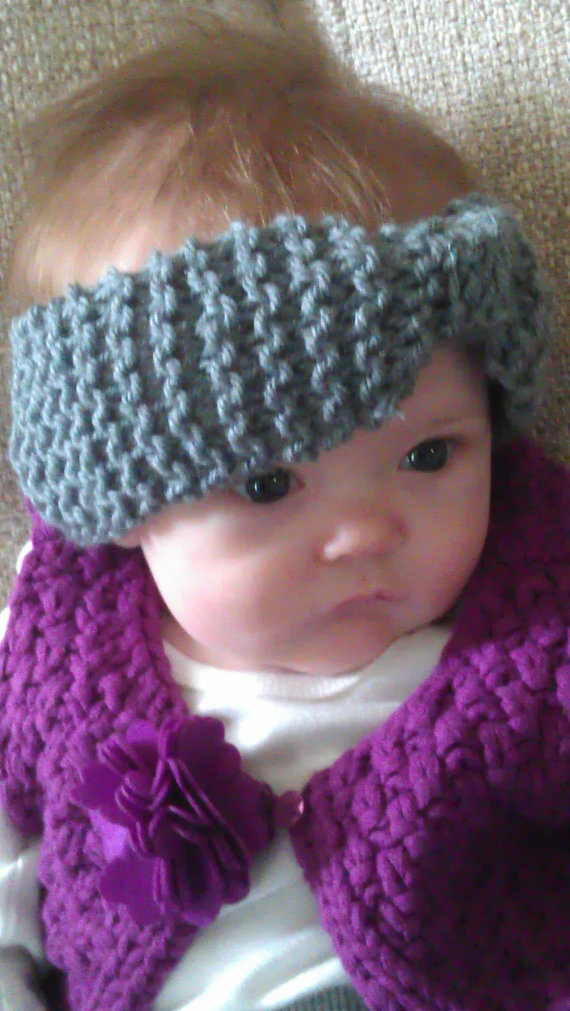 Grey Knitted Baby Headband Earwarmer My creations ...