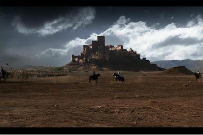 """Las cruzadas vistas por los Occidentales. Fotograma de """"El Reino de los Cielos"""" con el Castillo de Loarre al fondo."""