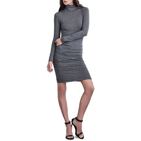 Velvet By Graham And Spencer Cinched Long Sleeve Dress ($89) ❤ liked on Polyvore featuring dresses, charcoal grey, long sleeve turtleneck dress, long-sleeve turtleneck dresses, long sleeve turtleneck, body conscious dress and turtleneck dress