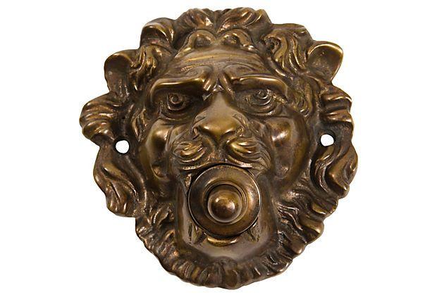 Small Lion Doorbell, Bronze
