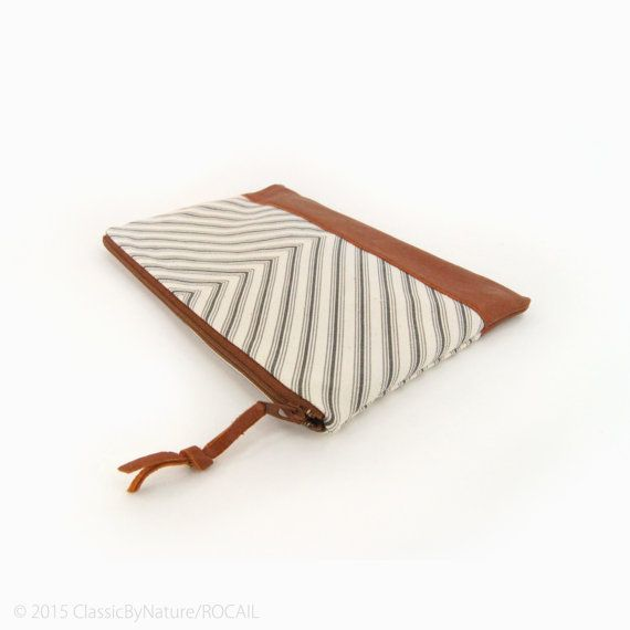 Gift ideas for her: Unique zipper Pouch with chevron and recycled leather by ClassicByNature