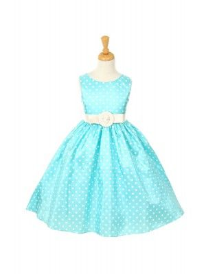 ($40) Aqua Cute Polka Dots Girl Dress with Faux Leather Belt - Not for flower girl, just adorableness.