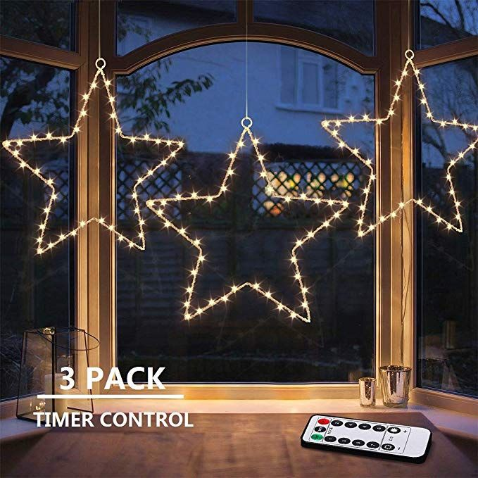 Maoyue Window Lights 3 Pack Christmas Window Star Lights With Timer Battery Operated Ch Light Up Christmas Decorations Christmas Window Lights Christmas Window