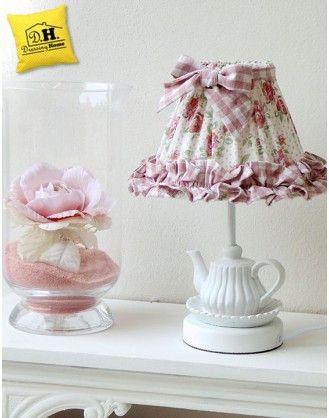 Lampada teiera con cappello rose fiorite media Angelica Home & Country