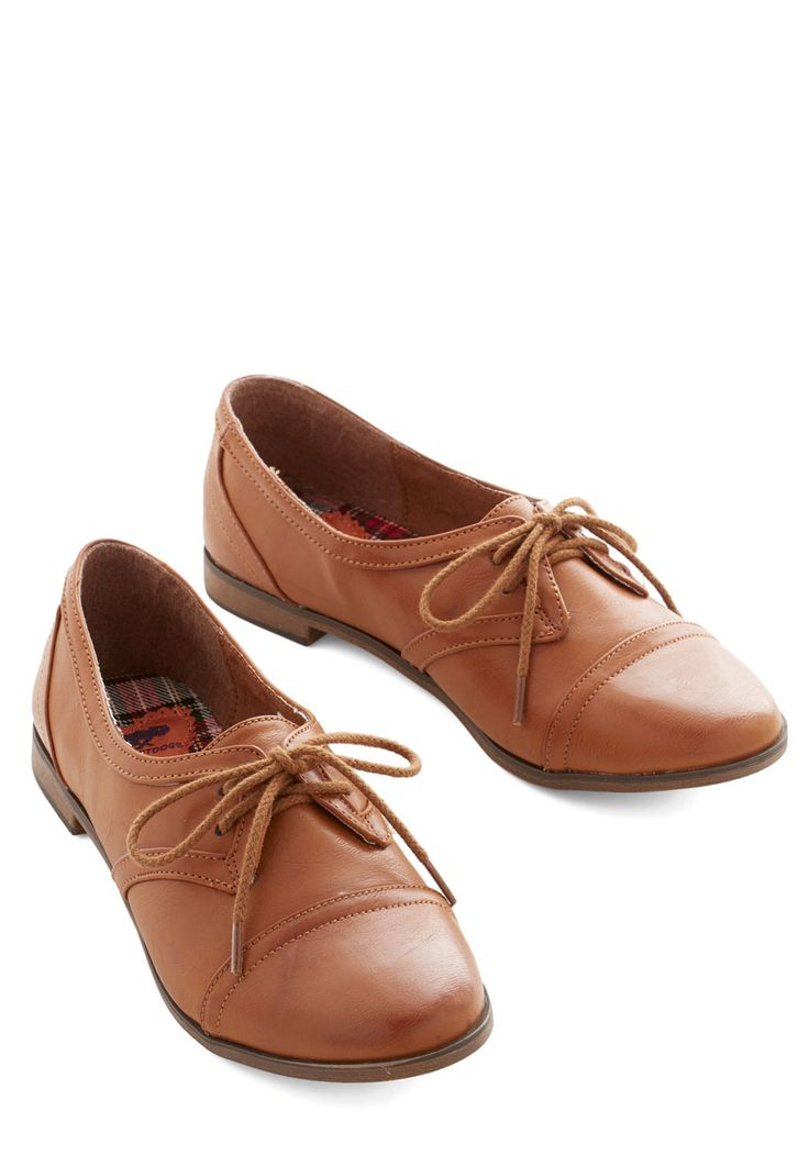 Readily Reliable Flat in Caramel. Leave it to you to take a classic shoe - like this pair of caramel-brown Oxfords - and turn it absolutely chic with every wear! #brown #modcloth