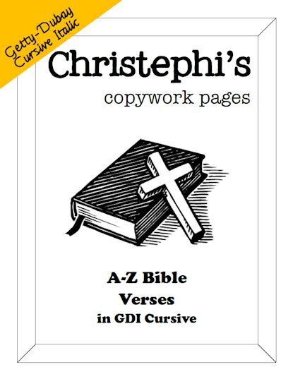 a z bible verses copywork in getty dubay cursive currclick homeschooling. Black Bedroom Furniture Sets. Home Design Ideas