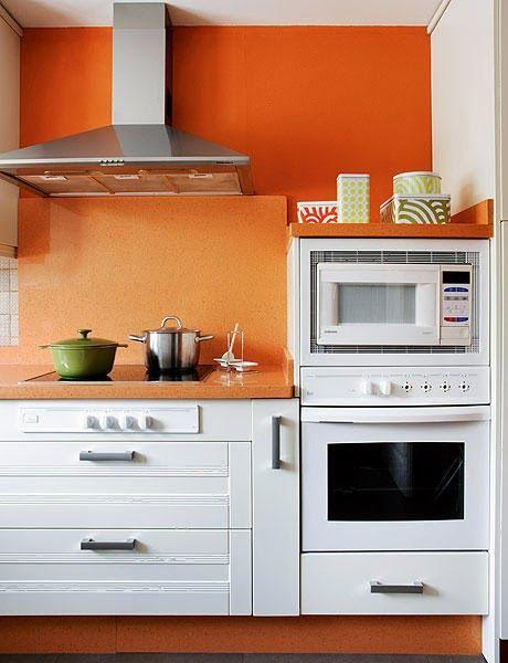amenajari, interioare, decoratiuni, decor, design interior, bucatarie, portocaliu