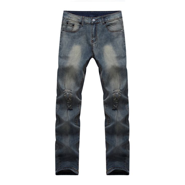 >> Click to Buy << Mens Ripped Straight Leg Jeans With Holes Thin Skinny Design Slim Fit Destroyed Torn Jean Pants for Men #Affiliate