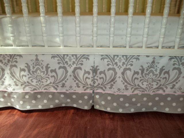 Crib Skirt Grey Damask and grey with White Polka Dots Baby Crib Zig zag. Custom Piping Cord, Premier fabric, Nursery Decor Free Shipping