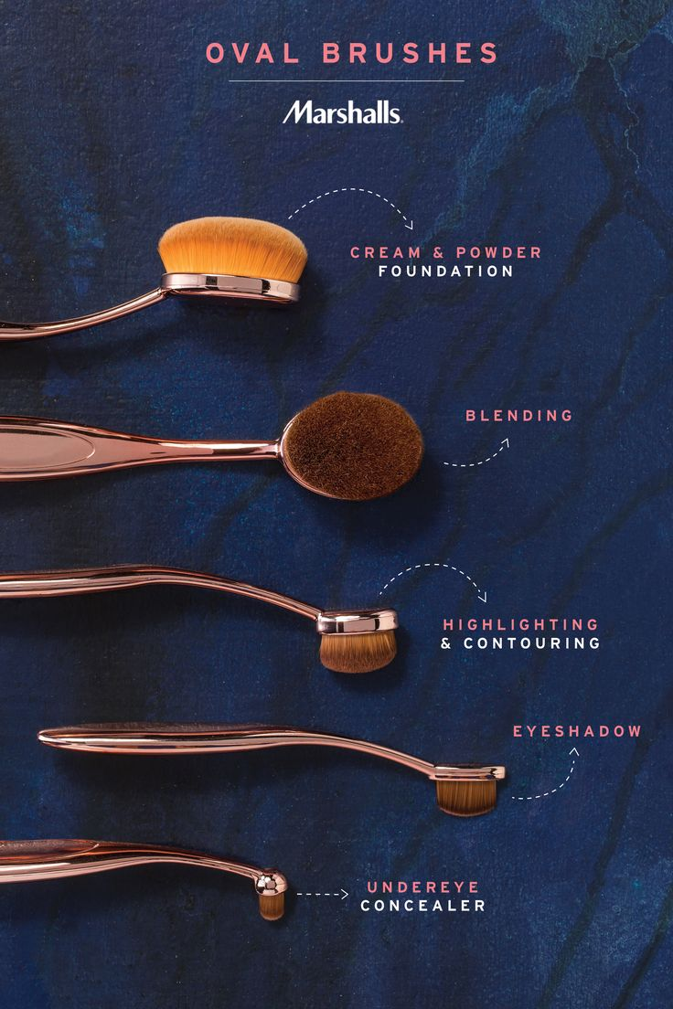 Oval brushes — the latest trending makeup tools. We love this new shape and its ultra soft bristles. These brushes do it all! Foundation, blending, highlighting & contouring... even eyeshadow and concealer. Update your routine with an oval brush set in rose gold — get yours now at Marshalls!