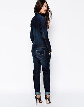 Lee – Dunkel verwaschene Jeans-Overalls