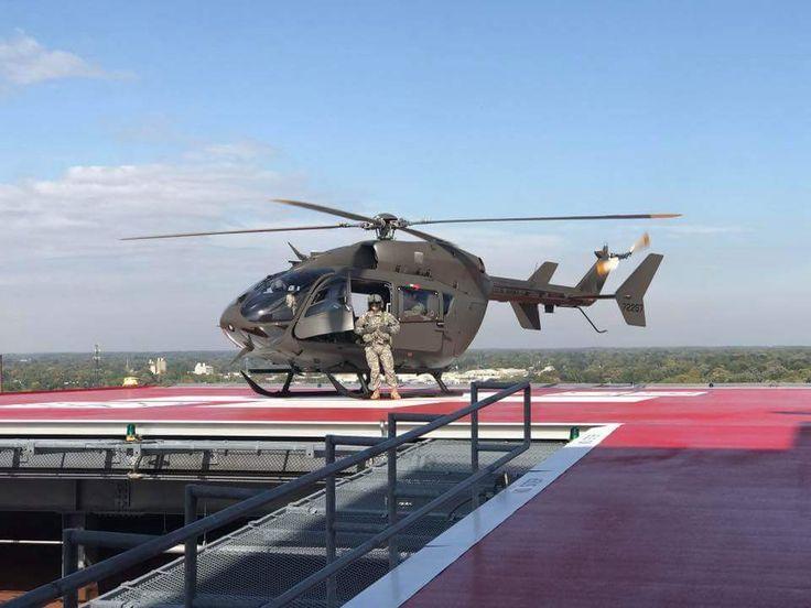 UH-72 Lakota. Michigan National Guard atop Sparrow Hospital, Lansing, Mi