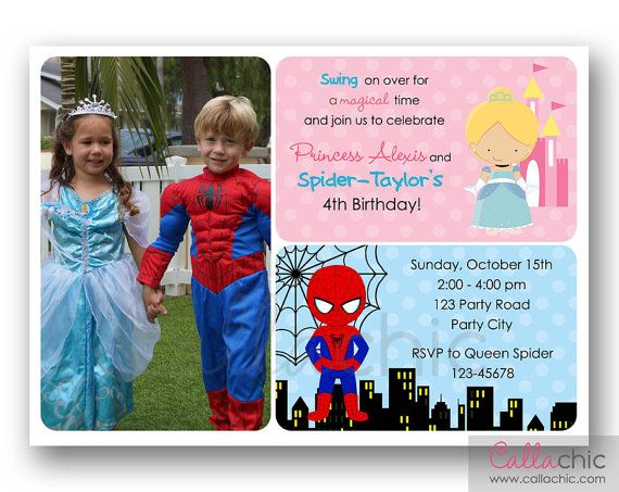 CInderella and Spiderman Birthday Invitation PRINTABLE with Photo - Twin / Joint / Split / Sibling Birthday Party - Princess Superhero on Etsy, $14.00