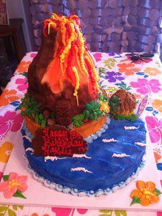 volcano luau cake with cupcake tiki hut.