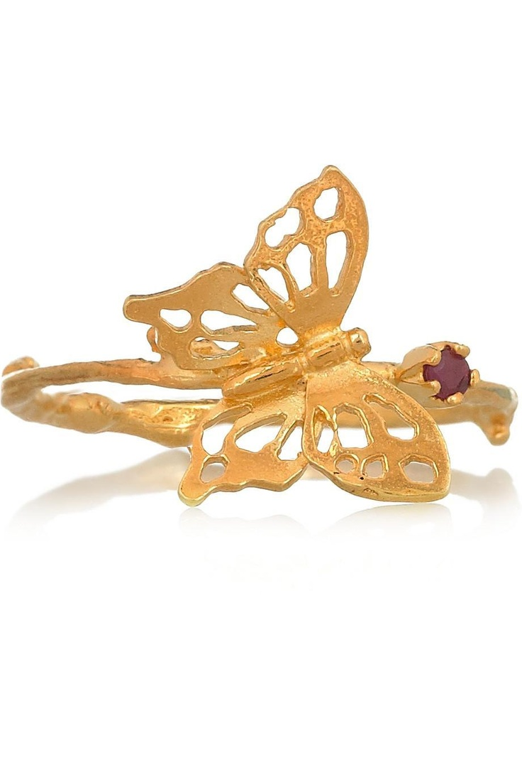 Alex Munroe 22-Karat Gold-plated Ruby Butterfly Ring