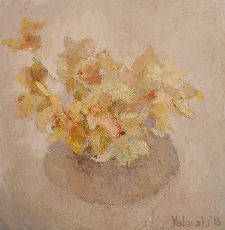 Yellow flowers on a white background 60-60cm, canvas, oil painting, 2013 Yalanzhi Julia