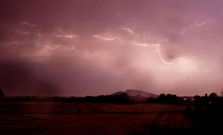 Lightning seen during a thunderstorm. Sehnde, Germany.