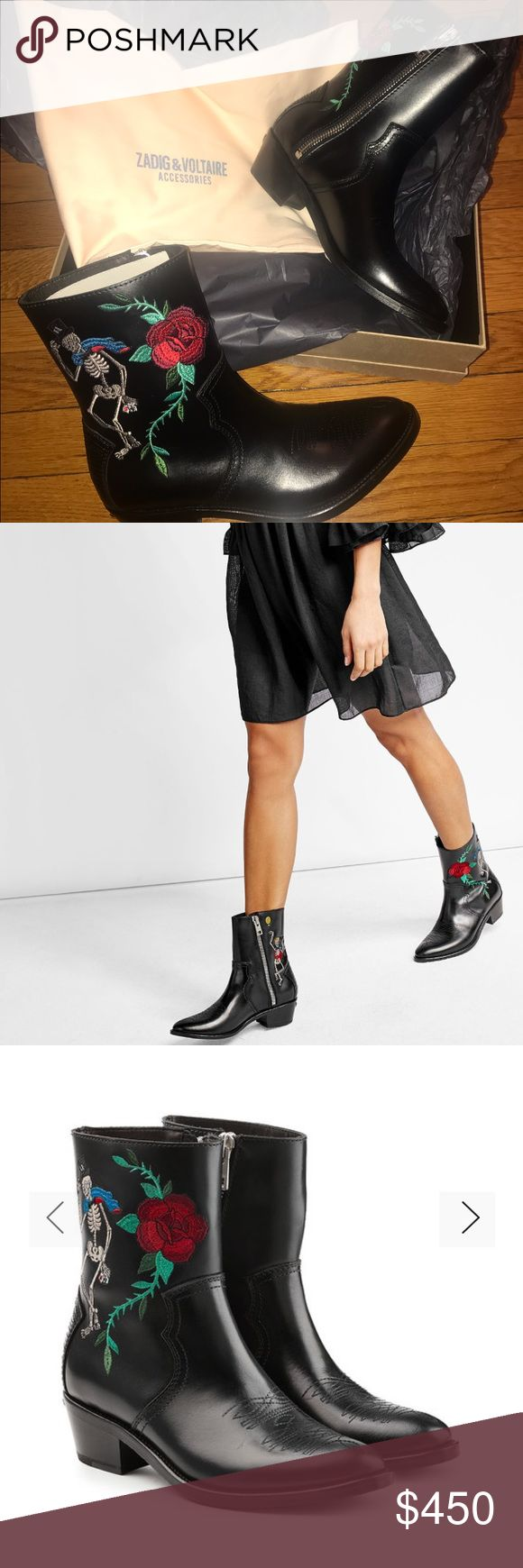 BRAND NEW! Fashionable cowboy boots. Zadig & Voltaire Cowboy Boots. Cowboy boots are given a sleek makeover from Zadig & Voltaire. Rendered in polished black leather, the unconventional zip side meets the exclusive Virginia Elmwood embroidery and 5 cm heels. Zadig & Voltaire Shoes