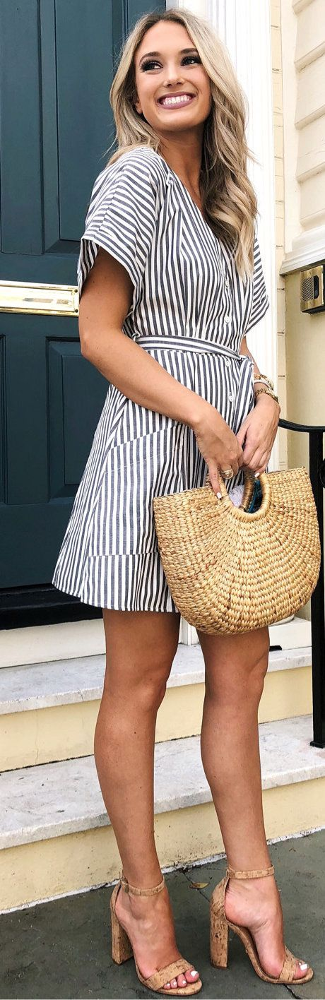 #spring #outfits photo of woman in white and gray stripes cap-sleeved. Pic by @champagneandchanel