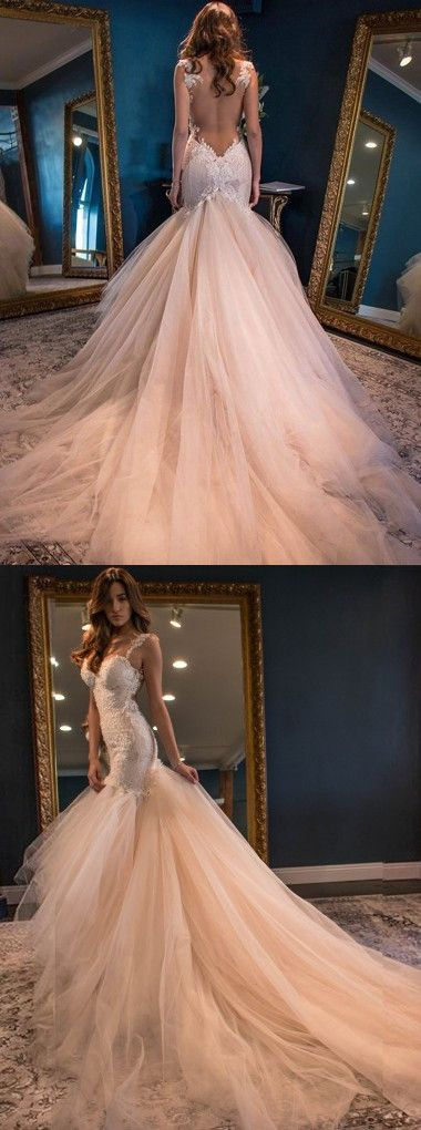 mermaid long wedding dress, peach wedding dress, fall wedding dress bridal gown…