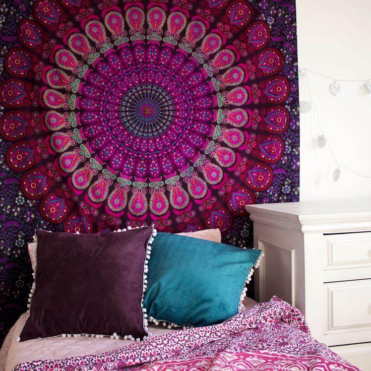 Manta Indiana Mandala Boho ☽ ✩  Decoração Gipsy , Decoração Boho , Colcha Indiana, Indian Tapestry, Indian Decor, Boho Deco, Zen, Zen Decor