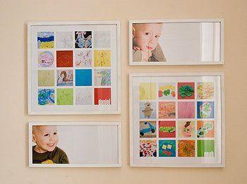 兄弟それぞれの写真と、正方形の額の中に正方形にトリミングされた各16の作品をバランス良く配置して、鮮やかなコーナーです。 シンプルな壁面もパッとカラフルになって素敵ですね。