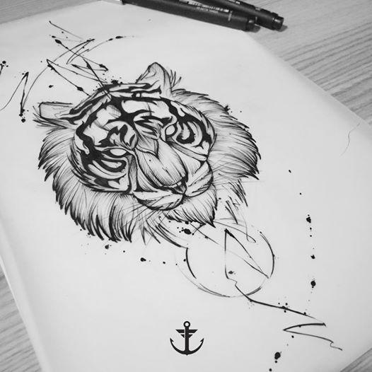 Draw by Felipe Bernardes, Brazilian Tattoo Artist | Tiger #tattoo #tatuagem #art #arte #flor #tigre #tigre #felipebernardes #blackwork #fineline