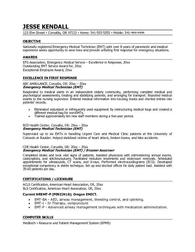Emt B Resume Examples Resume Examples Pinterest Resume
