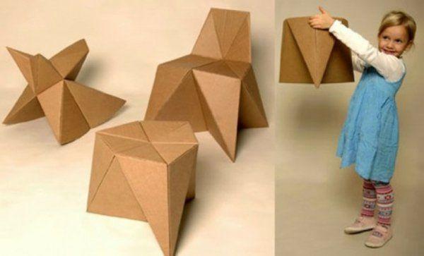 Basteln mit Kindern karton pappe klappstuhl praktisch