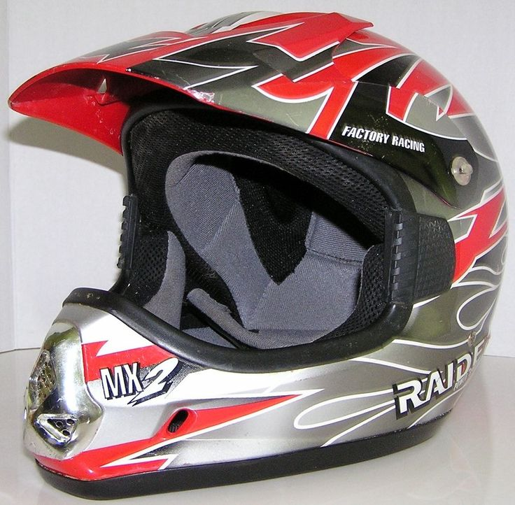 Raider MX2 Factory Racing Power Sports Helmet Size XL Red/Silver DOT Approved #RaiderPowerSportsHelmet