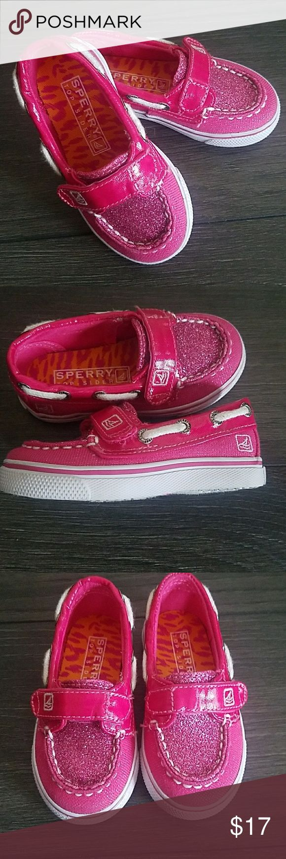 Infant Pink Sperry Shoes Like new infant pink Sperry shoes. Has pink glitter on top. Only worn once. Size 5 Sperry Top-Sider Shoes Baby & Walker