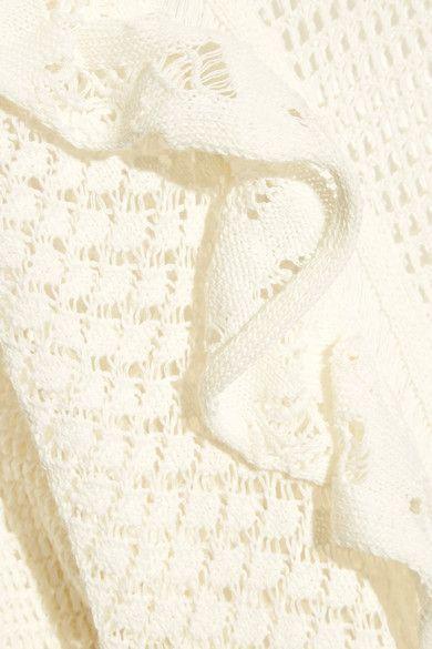 REDValentino - Ruffled Crocheted Cotton Sweater - Cream