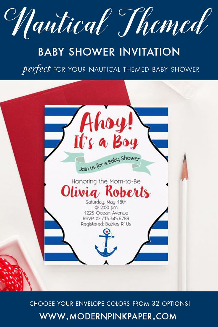 Ahoy baby shower invitations for a boy, Nautical themed baby shower invitations, Anchor baby shower invitations for a boy