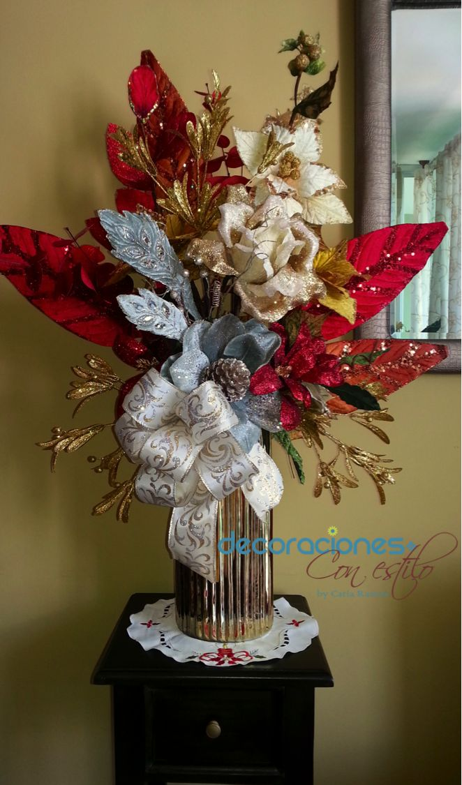 Hermoso Arreglo Navideo Decoracin Navidea Pinterest Christmas Decor Navidad And Ideas Para