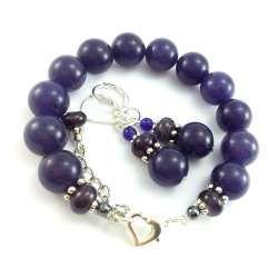 Komplet biżuterii z fioletowymi ametystami- kamieniami naturalnymi.