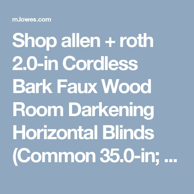 shop allen roth 20in cordless bark faux wood room darkening horizontal blinds