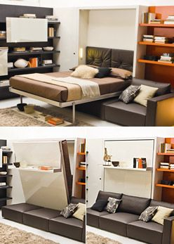 Swing Queen Wall Beds. most amazing murphy bed ever (WAY expensive, but way awesome)