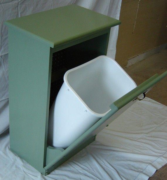 Green Kitchen Bin: New Solid Maple Wood Sage Green Garbage Bin Trash Can Or