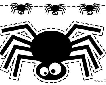 Plantilla araña Halloween imprimir y recortar guirnalda