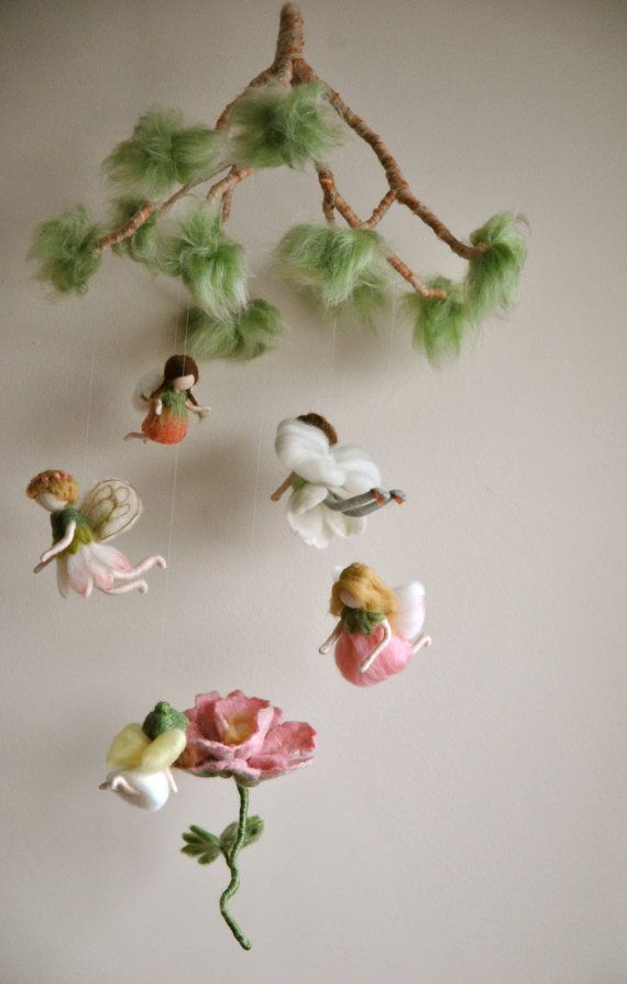 Spring mobile  Waldorf inspired needle felted dolls: Flowers  fairies