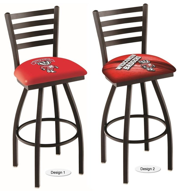 The NCAA officially licensed Bucky Wisconsin Badgers Bar Stool has a defined ladder back style with a black wrinkle finish. Free shipping. Excellent quality. Visit sportsfansplus.com for details.