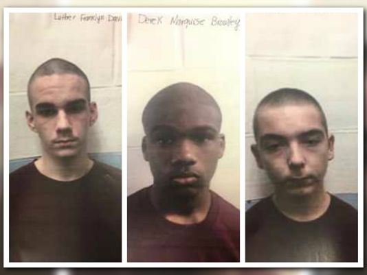 Private Officer Breaking News: Teens assault security, escape Jacksonville detention center (Jacksonville FL June 19 2017) LUTHER DAVIS (left photo) White male, 16; DEREK BROWLEY (middle photo) Black male, 16; and JUSTIN SILVA (right photo) White male, 15, were able to overpower staff members and take their keys. The inmates opened a secure door, fled the facility, jumped a fence, and left on foot.