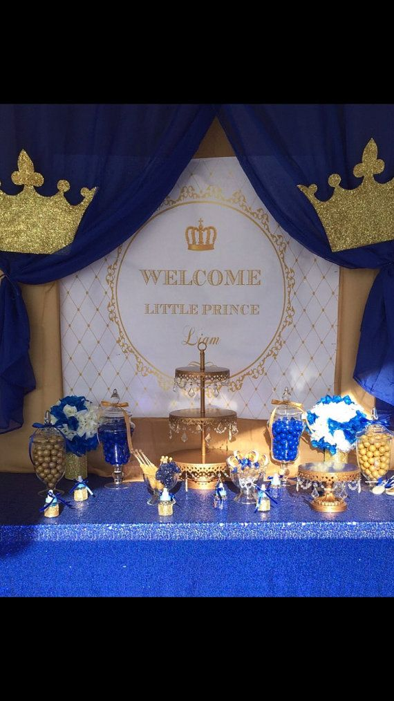 gold and white prince crown baptism by PRINTABLEPARTYPAPER on Etsy
