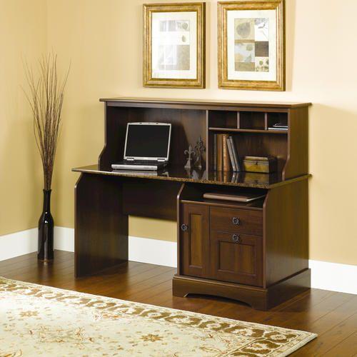 "59"" Graham Ridge Computer Desk with Hutch in Euro Oak $199"